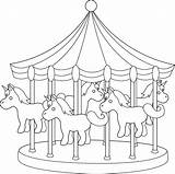 Carousel Line Carnival Clipart Clip Horses Coloring Amusement Drawing Cliparts Transparent Sweet Carousels Sweetclipart Parks Carnivals sketch template