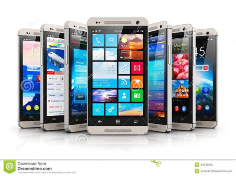 modern smartphone collection of modern touchscreen smartphones stock