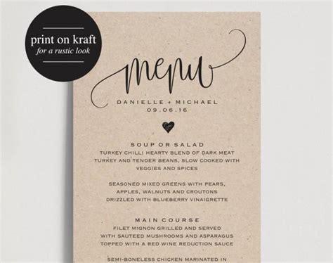 rustic wedding menu wedding menu template menu cards