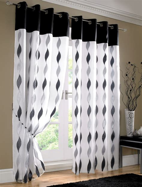 black white waves fully lined ring top voile curtain