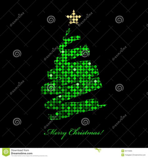 merry christmas card with christmas tree from disc stock vector image 35115065