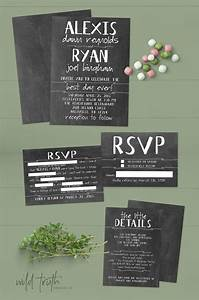 Chalkboard wedding invitation suite with funny rsvp mad for Funny wedding invitations email