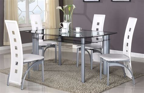 Contemporary Dining Room Sets by Brand New 5 Pcs Modern Dining Set Glass Top Dining Room