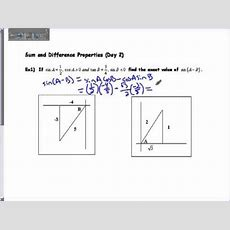 Sum And Difference Day 2 Pre Cal Youtube