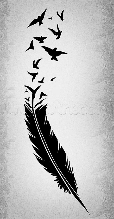 How To Draw A Black Feather, Black Feather Tattoo, Step By