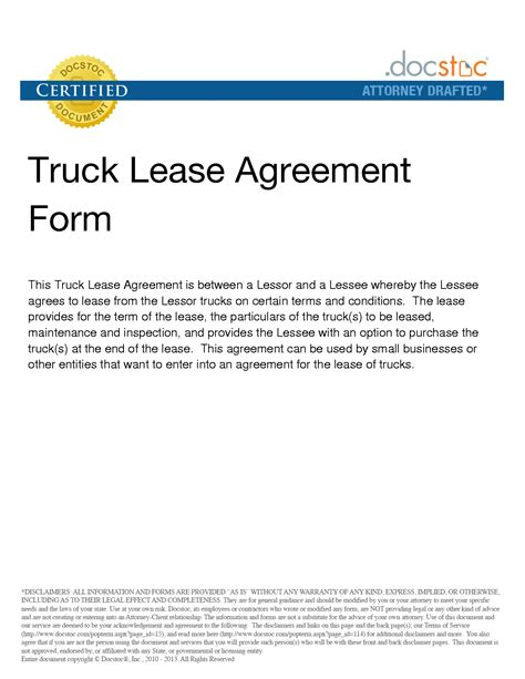 trucking agreement template best photos of sle truck lease company truck lease