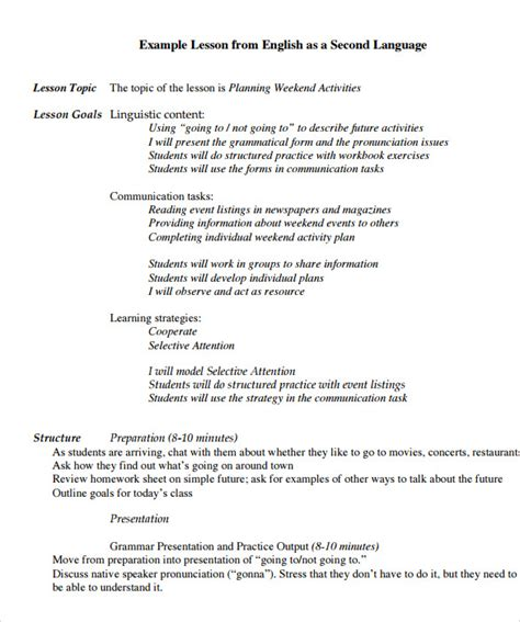 sample lesson plan 6 documents in pdf word 226 | Sample simple lesson plan Free PDF