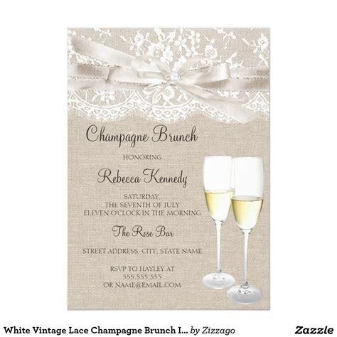 White Vintage Lace Champagne Brunch Invite   Zazzle.com ...