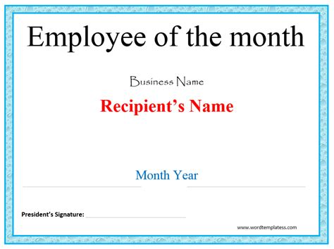 Employee Of The Month Certificate Template by Merit Award Certificate Template Word Templates