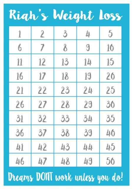 a4 personalised weight loss chart 50 lbs laminated