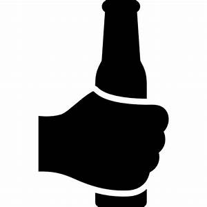 Hand holding up a bottle - Free gestures icons
