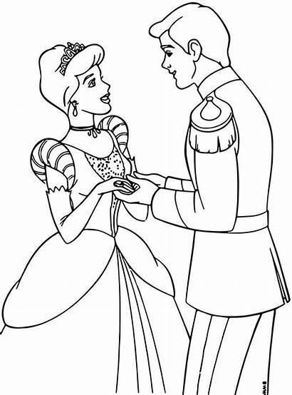 Coloring Cinderella Prince Charming Disney Printable Princess