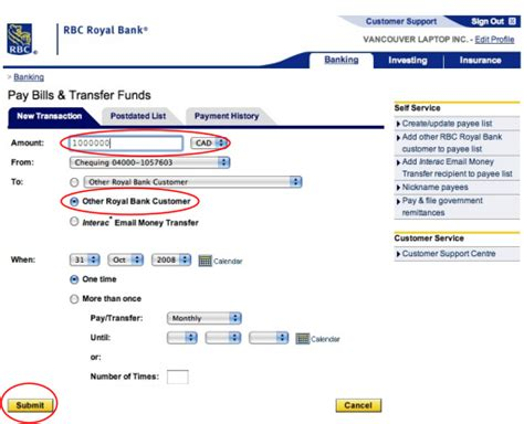 Transfer Money From Rbc Online Banking Accounts. (for Rbc