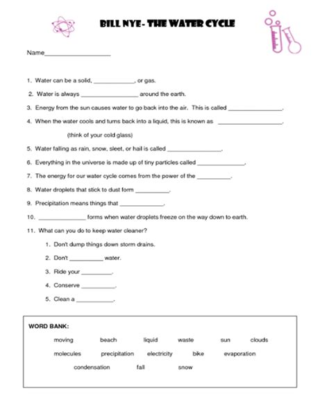 bill nye water cycle worksheet free worksheets library