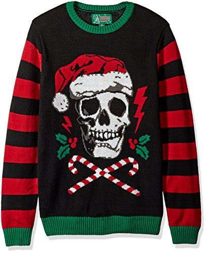 light up ugly sweater ugly christmas sweater men 39 s light up santa scull sweater