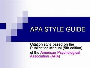 Apa Style 5th Edition