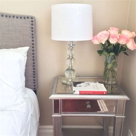 Bed With White Nightstands by Guest Bedroom Grey Headboard With Stud Detail Edging