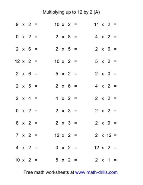 36 Horizontal Multiplication Facts Questions  2 By 012 (a