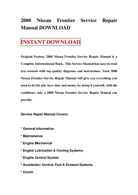 free auto repair manuals 2000 nissan frontier parental controls 2000 nissan frontier service repair manual download