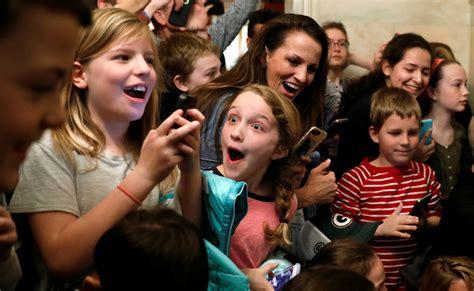 President Trump surprises group of children during White ...