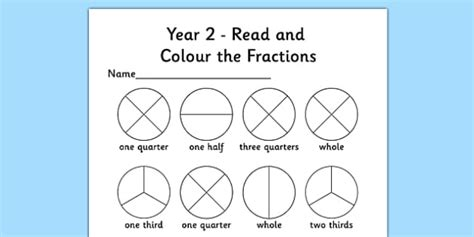 Year 2 Read And Colour A Fraction Activity Sheet Fractions