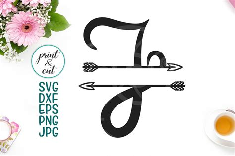 monogram letter  svg file split font  arrows individual letters  kartcreation