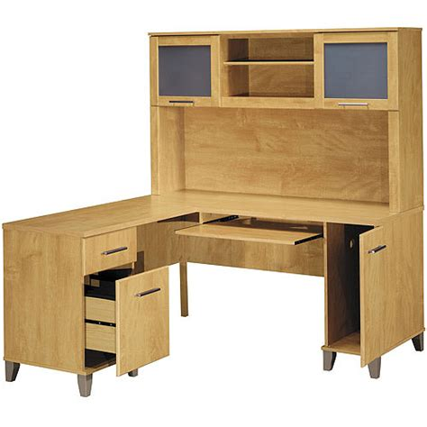 bush somerset desk with hutch bush somerset 60 quot l shaped desk with hutch maple cross