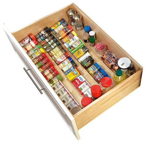 Large Spice Organizer by Rev A Shelf Wood Spice Drawer Insert