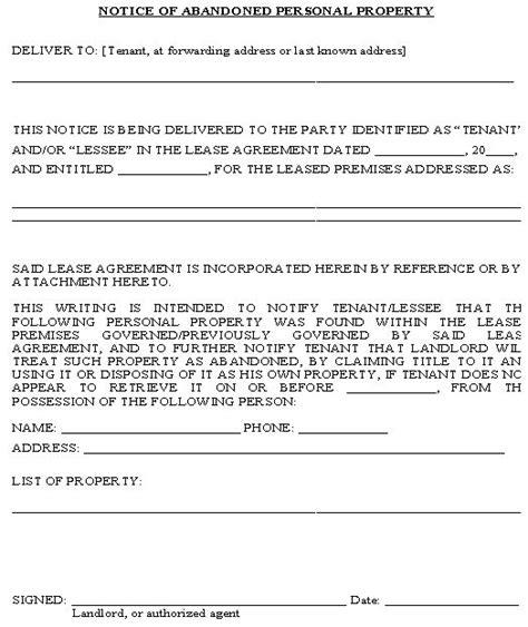notice  abandoned personal property form property