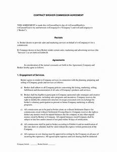 broker commission contract template templates resume With commission only contract template