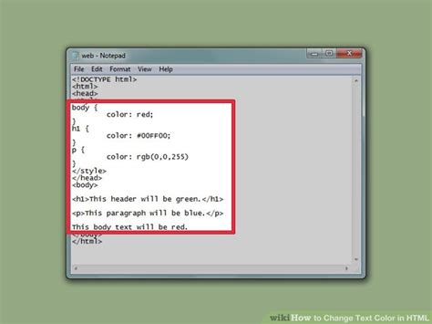 html text color how to change text color in html with pictures wikihow