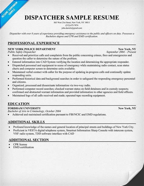 dispatcher resume resumecompanion work
