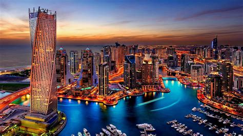 Dubai Marina Sunset Hd Wallpaper