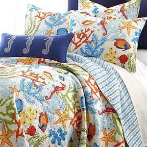 Brylane Home Bedding by Tropical Fish Coral Starfish Seashell Quilt Set