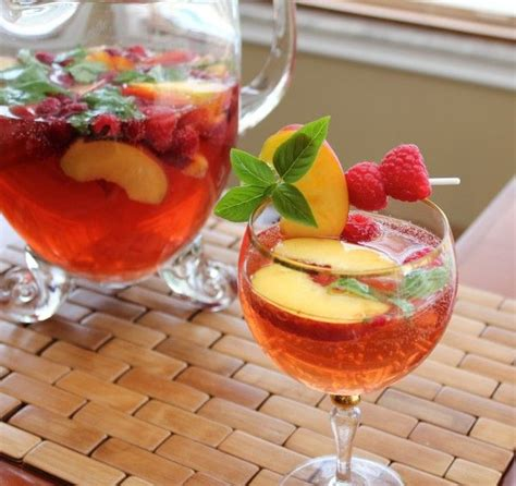 White Summer Sangria With Basil Peach Raspberry Best