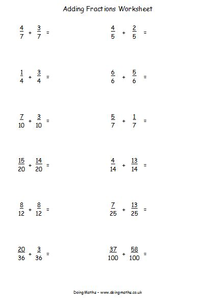 Fractions, Decimals And Percentages  Free Resources  Doingmaths  Free Maths Worksheets