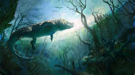 Digital Painting Wallpaper Hd by Nature Animals Digital Underwater Crocodiles