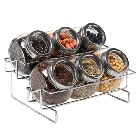 Spice Rack Containers by 6 Jar Metal And Glass Food Spice Kitchen Storage Container