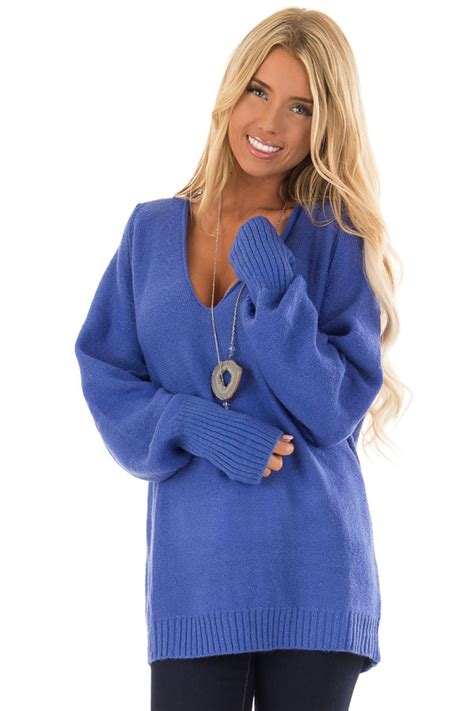 sapphire blue  neck long sleeve pullover sweater lime