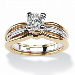 palmbeach jewelry 1 tcw cubic zirconia 14k gold plated two With palm beach wedding rings