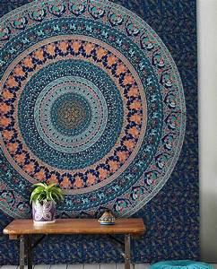 Large blue birds bohemian mandala wall tapestry