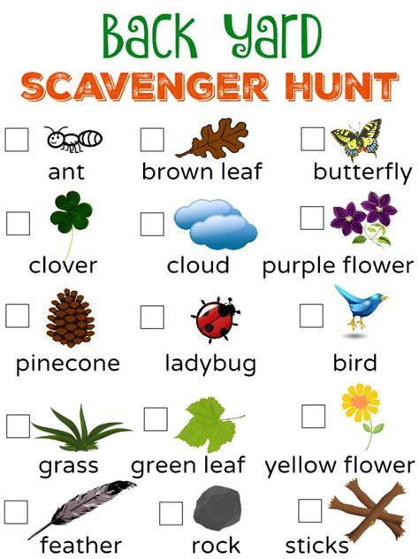 free to be outside back yard scavenger hunt free 764 | 50da716fea4a853573531cc6a158a3a3 backyard scavenger hunts preschool outdoor scavenger hunt