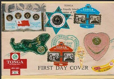 1970's TONGA Island Various Shaped Postage Stamps on Cover ...