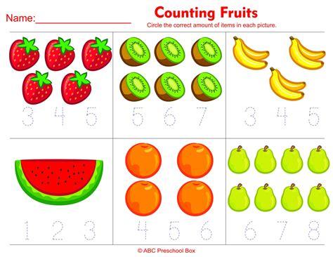 food worksheet  esl  counting fruits preschool math