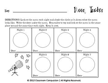 Free Seven Day Moon Tracker For Moon Phases Unit By Classroom Compulsion