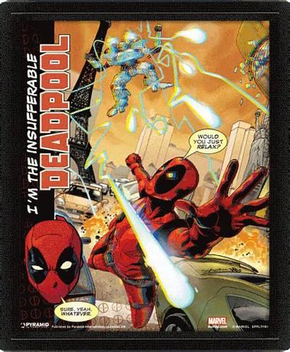 Deadpool Lenticular Poster Marvel Attack Comics Pyramid