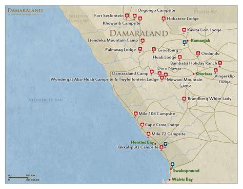 map of damaraland map detailed map of damaraland