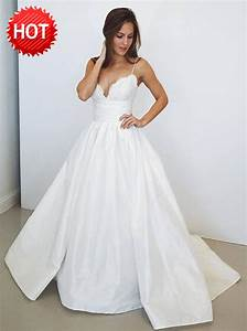 A line spaghetti straps long satin wedding dress with lace for Spaghetti strap wedding dress