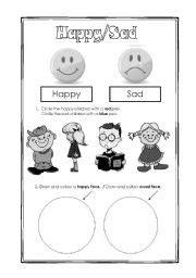 worksheets happy or sad