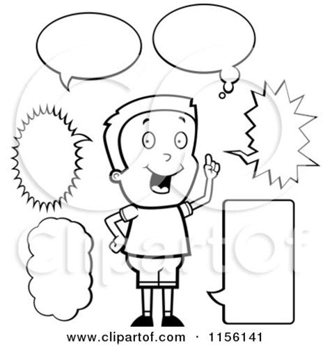 Cartoon Clipart Of A Black And White Caucasian Boy With